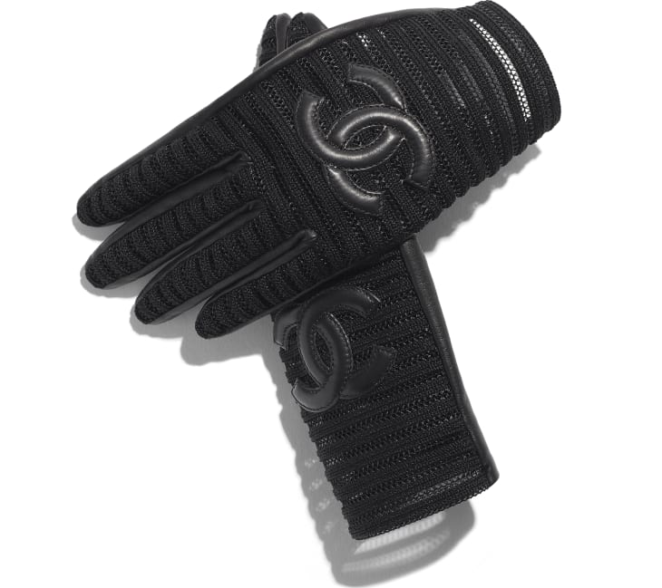 image 2 - Gloves - Lambskin & Synthetic Fibers - Black