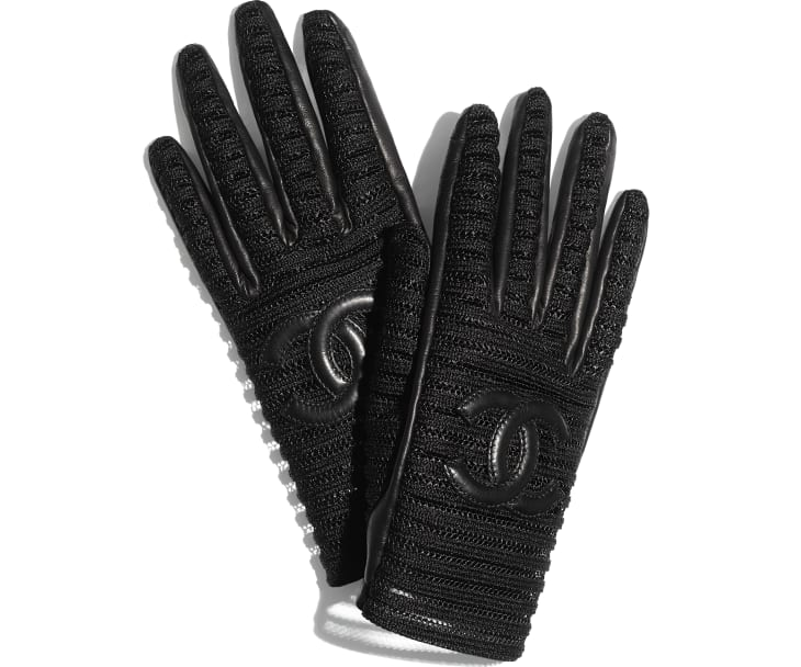 image 1 - Gloves - Lambskin & Synthetic Fibers - Black