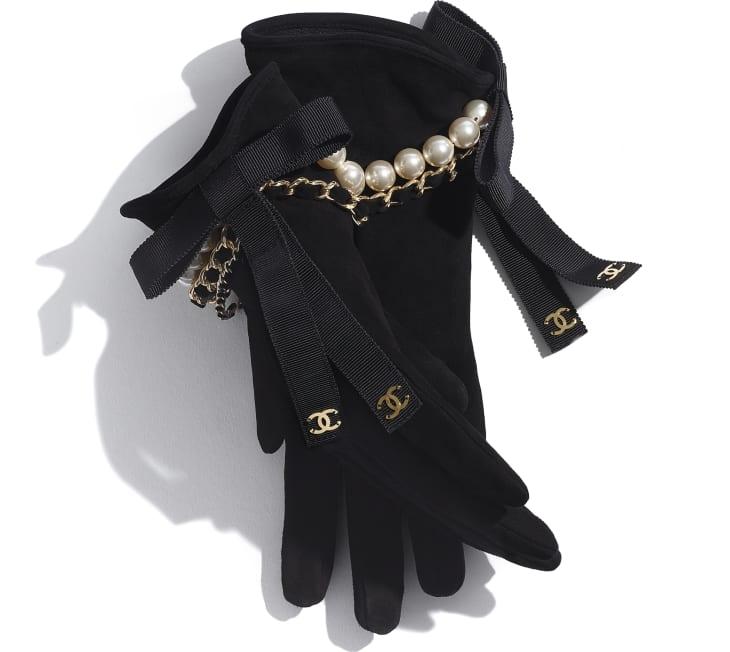 image 2 - Gants - Agneau velours, perles de verre, gros-grain & métal doré - Noir
