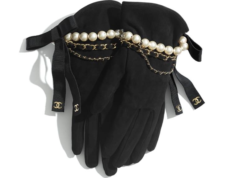 image 1 - Gants - Agneau velours, perles de verre, gros-grain & métal doré - Noir