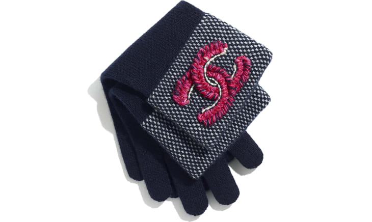 image 2 - Gloves - Cashmere & Wool - Navy Blue & Fuchsia