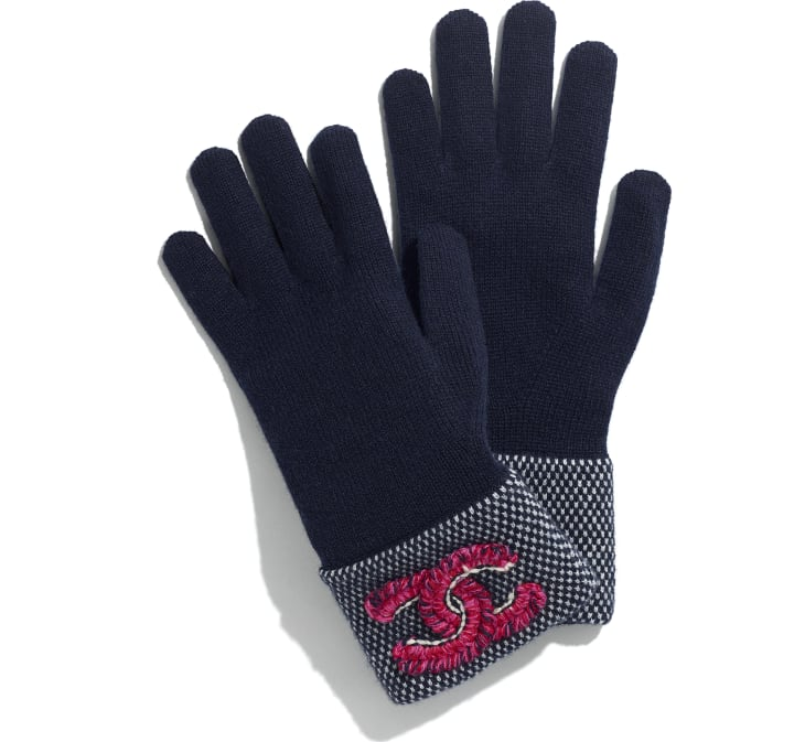 image 1 - Gloves - Cashmere & Wool - Navy Blue & Fuchsia
