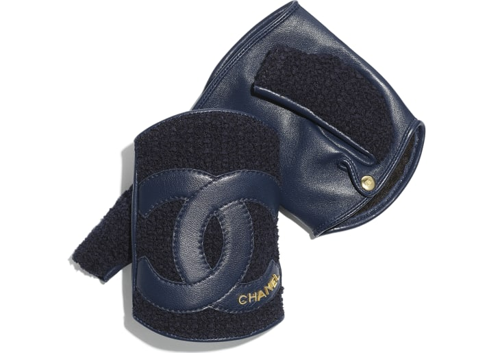 image 1 - Gloves - Tweed & Lambskin - Navy Blue