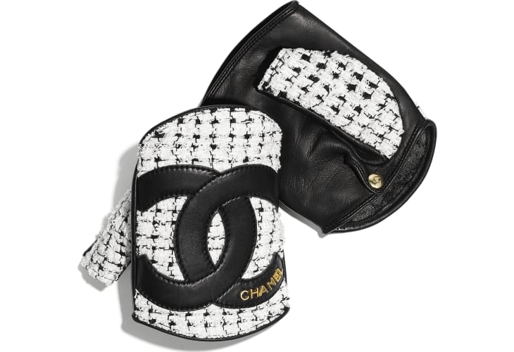 image 1 - Gloves - Tweed & Lambskin - White & Black