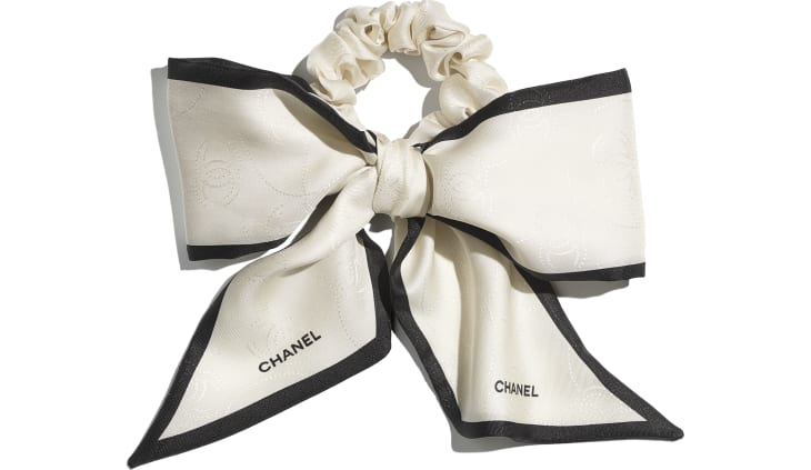 image 1 - Hair accessory - Silk Twill - Ivory & Black