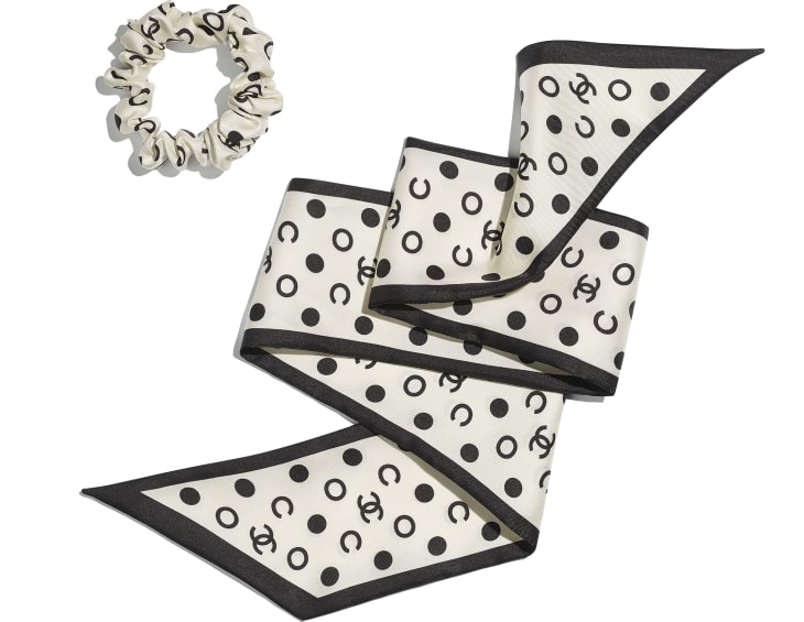 image 3 - Hair accessory - Silk Twill - Ivory & Black