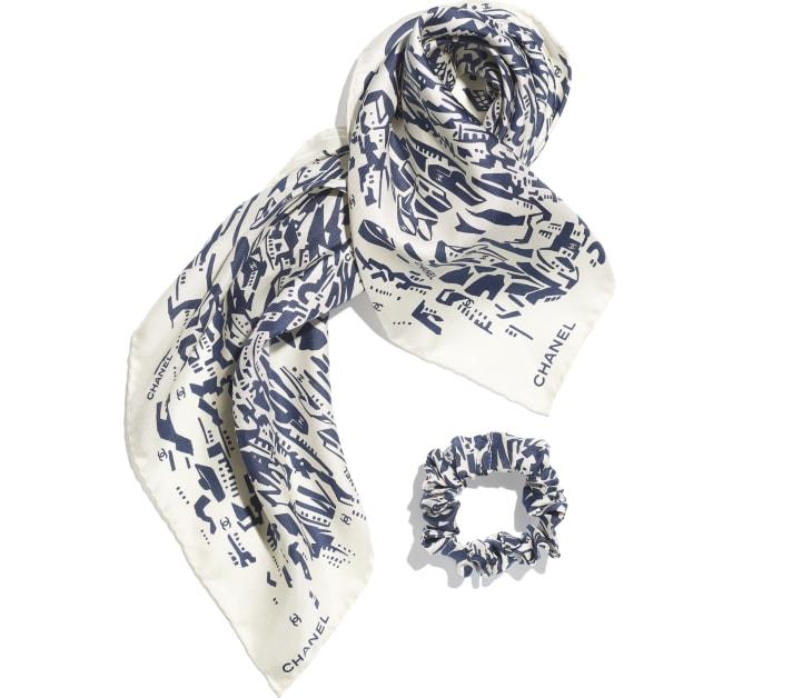 image 2 - ヘア アクセサリー - シルク ツイル - ネイビーブルー & ホワイト