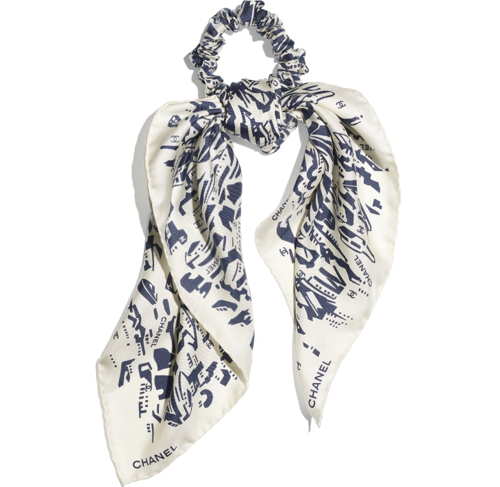 image 1 - Hair accessory - Silk Twill - Navy Blue & White
