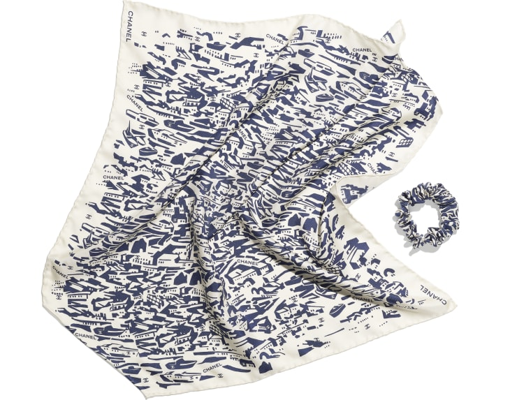 image 3 - Hair accessory - Silk Twill - Navy Blue & White