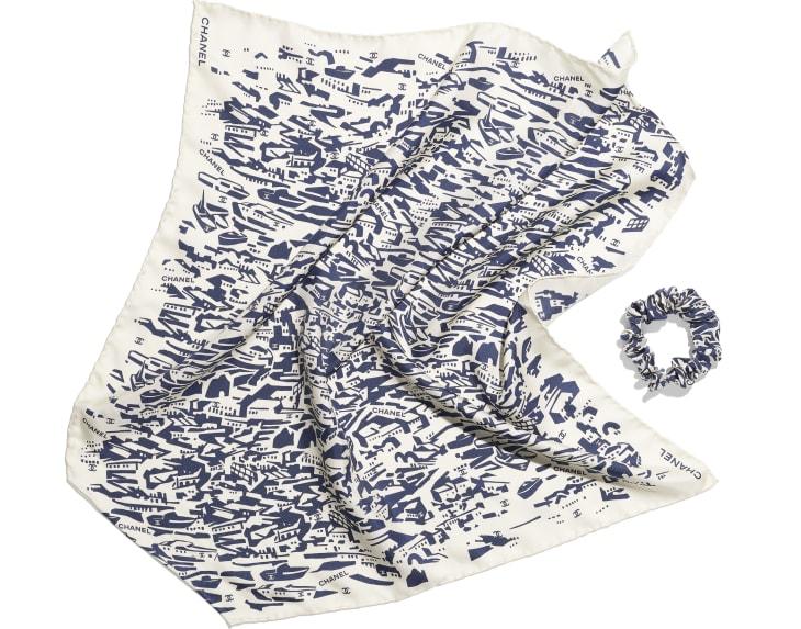 image 3 - ヘア アクセサリー - シルク ツイル - ネイビーブルー & ホワイト