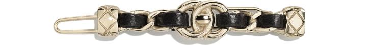 image 1 - Hair Clip - Metal & Lambskin - Gold & Black
