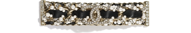 image 1 - Hair Clip - Metal, Calfskin, Glass Pearls & Strass - Gold, Black, Pearly White & Crystal