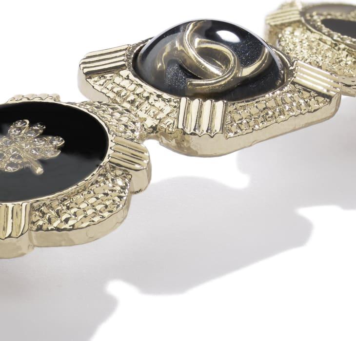 image 2 - Hair Clip - Metal, Resin & Strass - Gold, Black, White & Crystal