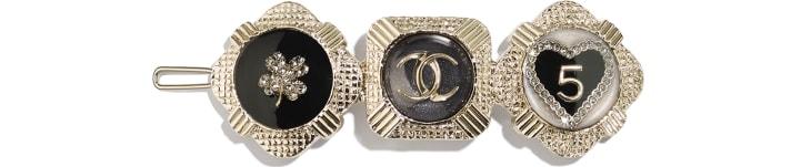 image 1 - Hair Clip - Metal, Resin & Strass - Gold, Black, White & Crystal