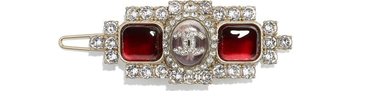 image 1 - Hair Clip - Metal, Strass & Resin - Gold, Crystal & Red