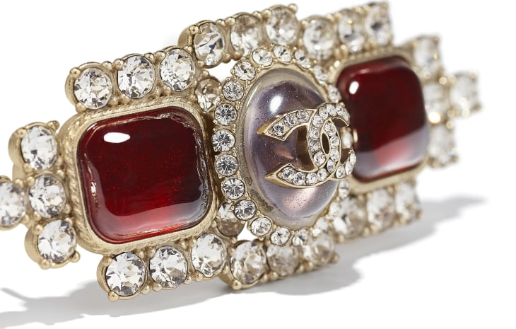 image 3 - Hair Clip - Metal, Strass & Resin - Gold, Crystal & Red