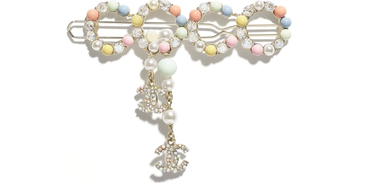 image 1 - Hair Clip - Metal, Natural Stones, Cultured Freshwater Pearls, Glass Pearls & Strass - Gold, Multicolor & Crystal