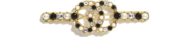 image 1 - Hair Clip - Metal, Glass Pearls & Diamantés - Gold, Pearly White, Black & Crystal