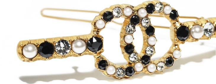 image 3 - Hair Clip - Metal, Glass Pearls & Diamantés - Gold, Pearly White, Black & Crystal