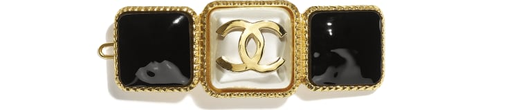 image 1 - Hair Clip - Metal & Resin - Gold, Pearly White & Black