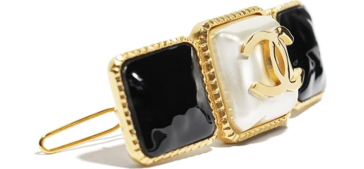 image 3 - ヘア クリップ - メタル & レジン - ゴールド、ホワイト & ブラック