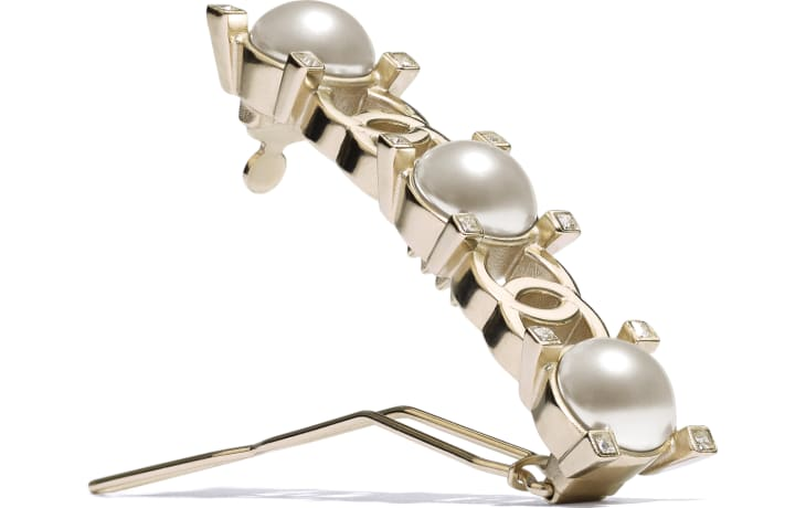 image 2 - Hair Clip - Metal, Glass Pearls & Strass - Gold, Pearly White & Crystal