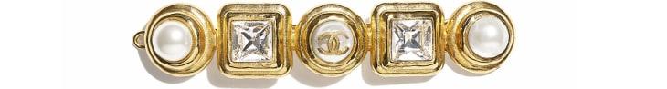 image 1 - Acessório De Cabelo - Metal, Pérolas De Vidro & Strass - Dourado, Branco Perolado & Cristal