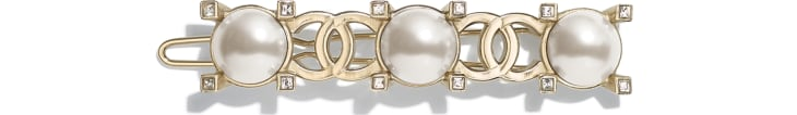 image 1 - Hair Clip - Metal, Glass Pearls & Strass - Gold, Pearly White & Crystal