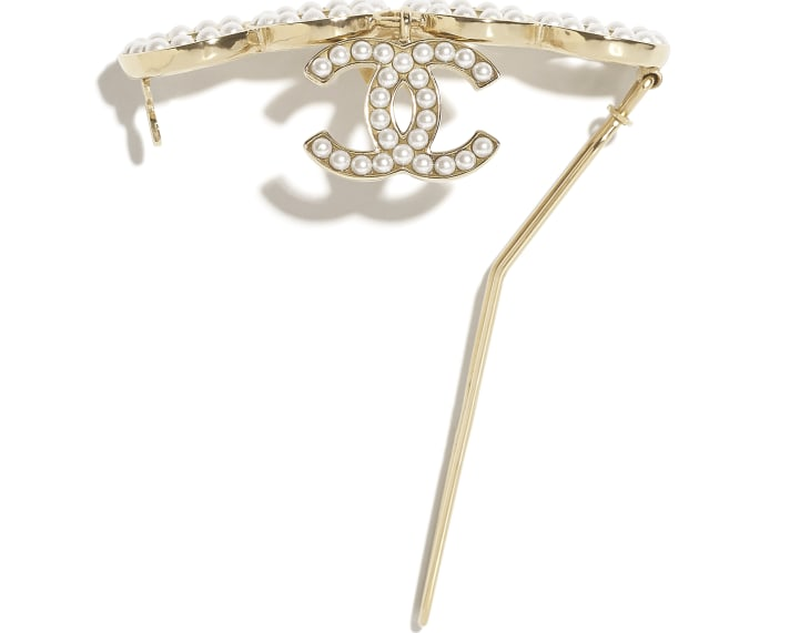 image 2 - Hair Clip - Metal & Glass Pearls - Gold & Pearly White