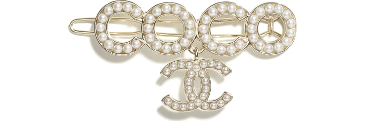 image 1 - Hair Clip - Metal & Glass Pearls - Gold & Pearly White