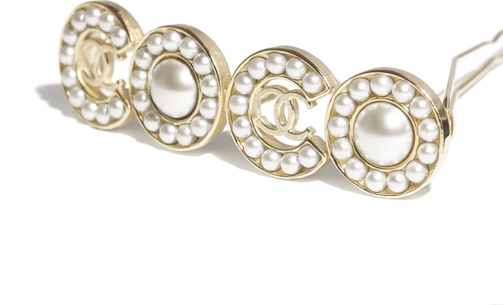 image 3 - Hair Clip - Metal & Glass Pearls - Gold & Pearly White