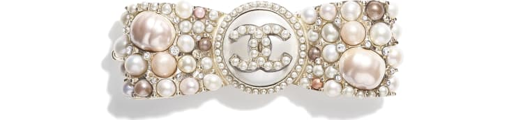 image 1 - Hair Clip - Metal, Cultured Fresh Water Pearls, Glass Pearls, Imitation Pearls & Strass - Gold, Pearly White, Pink & Crystal