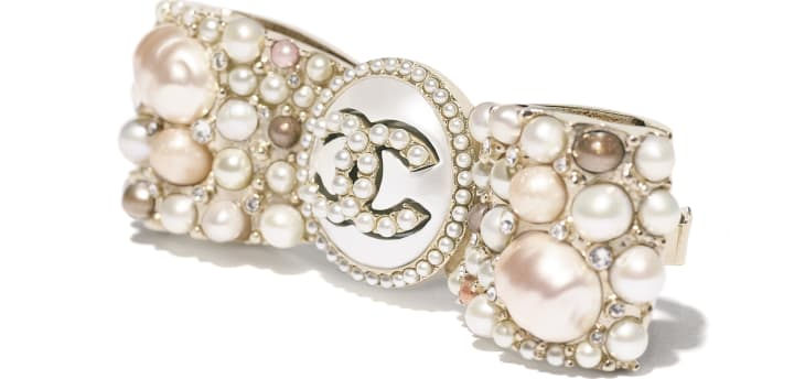 image 3 - Hair Clip - Metal, Cultured Fresh Water Pearls, Glass Pearls, Imitation Pearls & Strass - Gold, Pearly White, Pink & Crystal