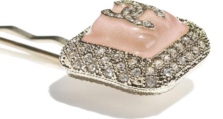 image 3 - Hair Clip - Metal, Glass & Diamanté - Gold, Pink & Crystal