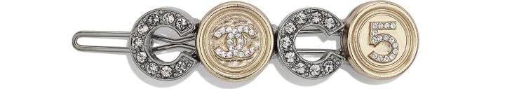 image 1 - Barrette - Métal & strass - Ruthénium, doré & cristal