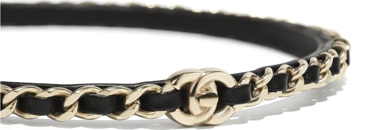image 2 - Headband - Metal & Lambskin - Gold & Black