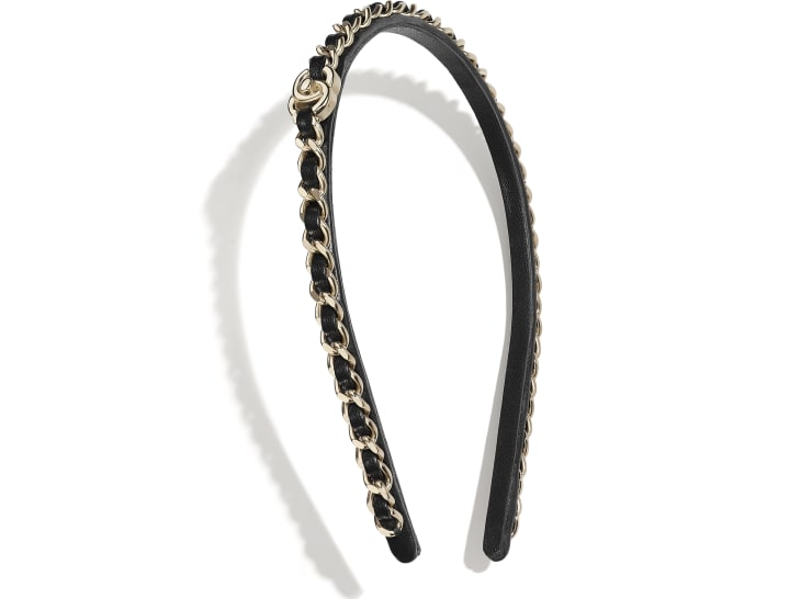 image 1 - Headband - Metal & Lambskin - Gold & Black