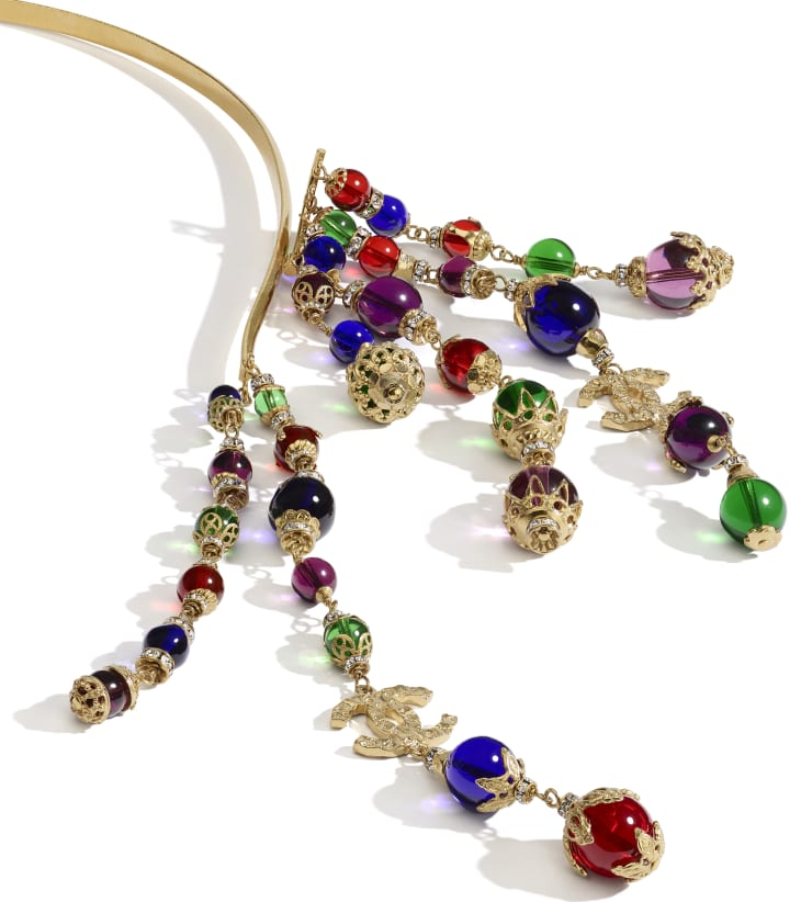 image 2 - Headband - Metal, Glass Pearls & Strass - Gold, Multicolor & Crystal