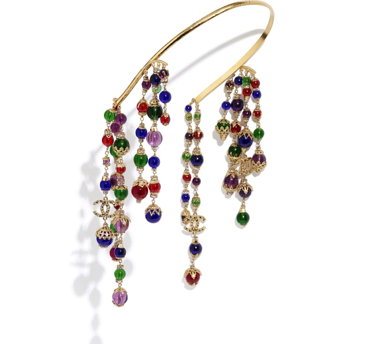 image 1 - Headband - Metal, Glass Pearls & Strass - Gold, Multicolor & Crystal