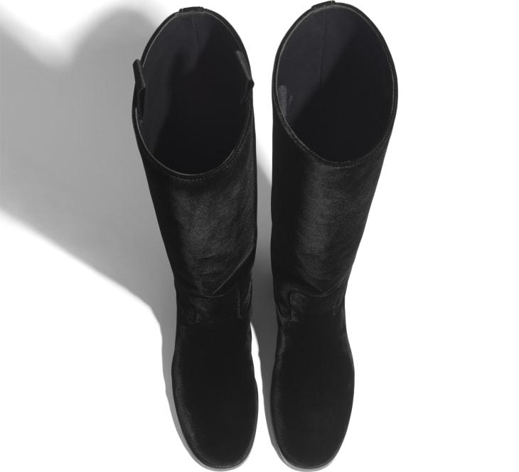 image 3 - High Boots - Velvet - Black