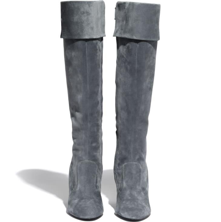 image 2 - ロング ブーツ - スウェード カーフスキン - グレー