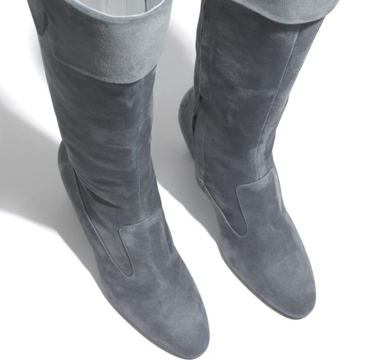 image 3 - ロング ブーツ - スウェード カーフスキン - グレー