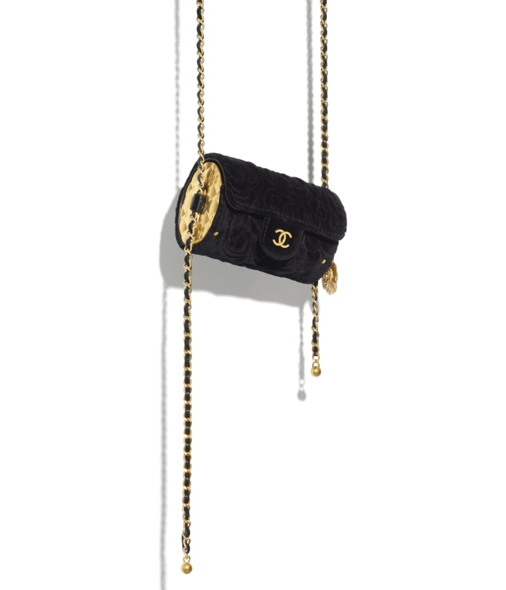 image 4 - Jewel Card Holder with Chain - Velvet, Metallic Sides & Gold-Tone Metal - Black