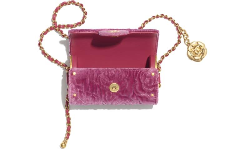 image 2 - チェーン カード ケース - ベルベット - ピンク