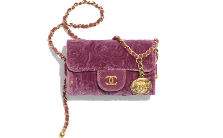 image 1 - Jewel Card Holder with Chain - Velvet, Metallic Sides & Gold-Tone Metal - Pink