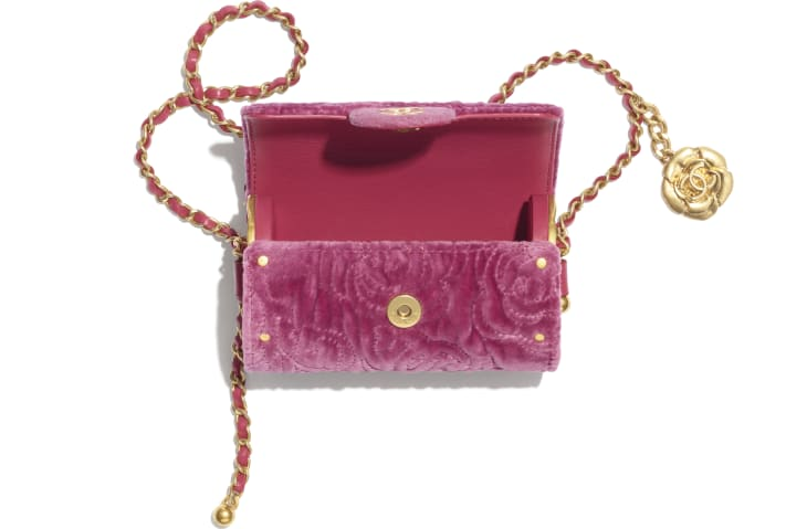 image 2 - Jewel Card Holder with Chain - Velvet, Metallic Sides & Gold-Tone Metal - Pink