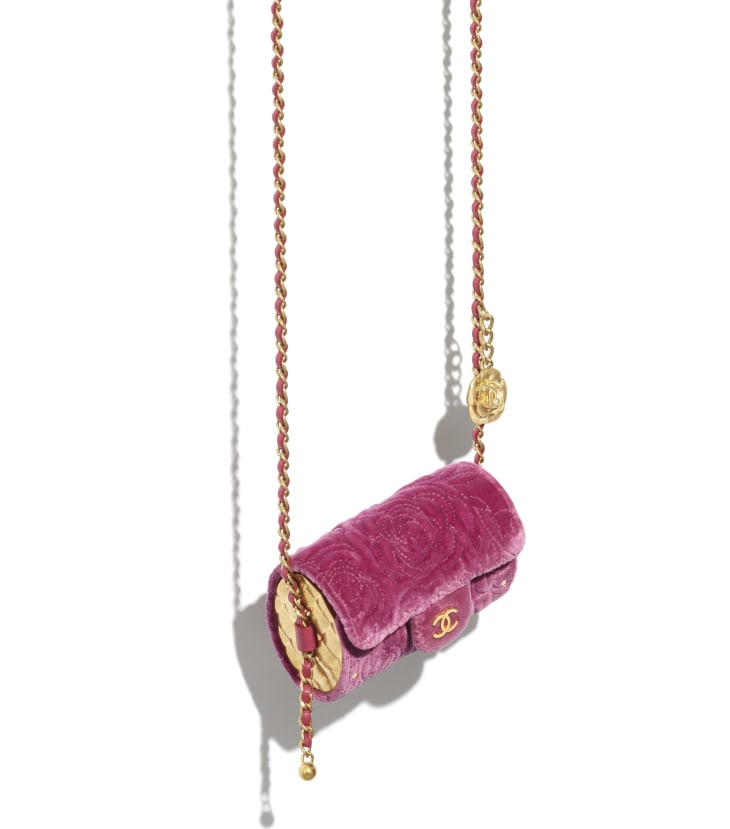 image 3 - Jewel Card Holder with Chain - Velvet, Metallic Sides & Gold-Tone Metal - Pink
