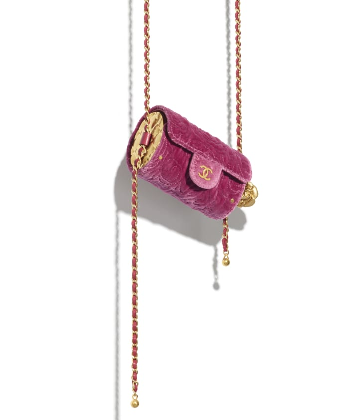 image 4 - Jewel Card Holder with Chain - Velvet, Metallic Sides & Gold-Tone Metal - Pink