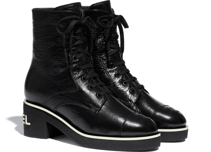 image 2 - Lace-Ups - Shiny Crumpled Lambskin - Black