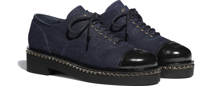 image 2 - Lace Up - Denim & Lambskin - Blue & Black